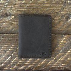 8dd4fa6e0764 MONOGRAMMED GROOMSMEN GIFT Distressed Leather Wallet Mens Modern Cardholder  Minimalist Card Wallet P
