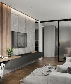 36 Amazing TV Wall Design Ideas For Living Room Decor ~ kliksaya. Loft Interior, Living Room Interior, Home Living Room, Living Room Decor, Studio Interior, Nordic Interior, Interior Doors, Kitchen Living, Modern Apartment Design