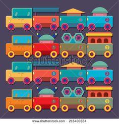 seamless vector pattern train kids toys  - stock vector