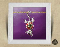 Cadre carré 25x25 avec Illustration Maki Catta et cadeaux pour