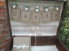 Vintage Style Suitcase Wedding Card Holder Wooden Post Box Bunting Design