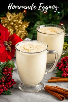 Old Fashioned Homemade Eggnog Just whip the cream first. And put the custard in an ice bath to cool in no time. No need to sit so long Drinks Old Fashioned Homemade Eggnog Xmas Food, Christmas Drinks, Christmas Desserts, Christmas Baking, Christmas Menu Ideas, Christmas Foods, Fancy Drinks, Yummy Drinks, Stay At Home Chef
