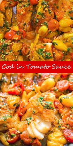 This super easy and tasty Cod Fish in Tomato Sauce is perfect for pairing with rice, grits, or pasta. Your meal will be ready to serve in under 30 minutes. Shellfish Recipes, Seafood Recipes, Vegetarian Recipes, Cooking Recipes, Healthy Recipes, Dishes Recipes, Fish Dinner, Seafood Dinner, Salads