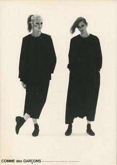 Minimalist Fashion Design: Japanese designers Yohji Yamamoto, Issey Miyake and Rei Kawakubo of Comme des Garçons make gender ambiguous, minimalist, anti-fashion statements in the 1980s.