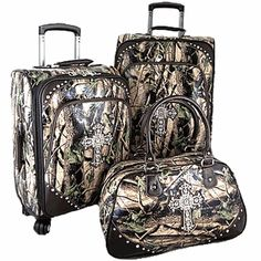 Montana West Camo Cross 3 pc Luggage Set would never lose my luggage lol:) Cute N Country, Country Girls, Country Life, Hunting Camo, Hunting Stuff, Luggage Sets, Travel Luggage, Pink Camo, Down South