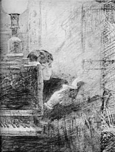 Bashkirtseff, Marie  (1858-1884) Femme lisant près d'un piano
