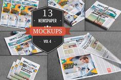 Professional Newspaper Mockups Vol.4 by ZippyPixels on @creativemarket   Newspaper Mockup   PSD Newspaper Mockup  