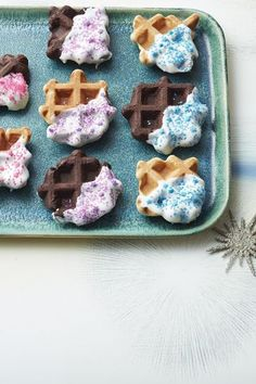 Holiday Waffle Cookies Recipe: Give your treats some unexpected texture, and let the kids get creative dipping and decorating.