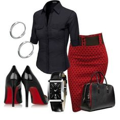 Cute outfit! black shirt and red/black skirt with black bag and heels