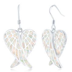 La Preciosa Sterling Silver Blue, Pink, or Opal Angel Wings Earrings