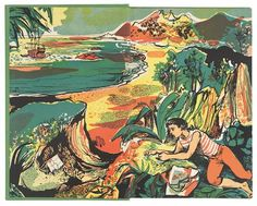 John Minton illustration for 'Treasure Island' by Robert Louis Stevenson, 1947 Art And Illustration, Book Illustrations, Science Fiction, John Minton, Mystery, Romantic Paintings, Seascape Art, Romance, Treasure Island