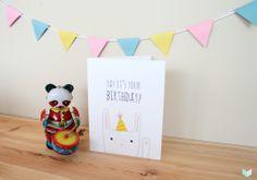 Cute bunny says Happy Birthday! #HeavenleeDays #GreetingCard #BirthdayCard #Bunny #Character #EcoFriendly #RecycledPaper #PaperGoods