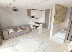 55 Ideas Living Room Furniture Small Rugs For 2019 Studio Apartment Floor Plans, Studio Apartment Design, Small Studio Apartments, Studio Apartment Decorating, Small Living Rooms, Home Living Room, Living Room Furniture, Small Furniture, Bedroom Divider