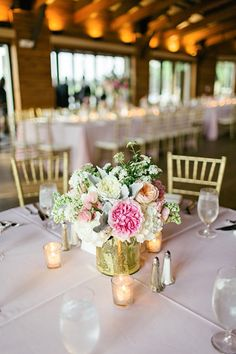 gold + pink centerpiece | Brooke Images #wedding