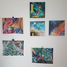 "My ""new works"" wall at the top of the stairs to my studio is filling up. I'm stoked to have some time to work again. I've got 3 shows lined up for 2020 already! Some Times, New Words, Mixed Media, Abstract Art, Gallery Wall, Stairs, Studio, Frame, Top"