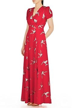 eShakti Women's Custom Bird print crepe surplice maxi dress Poppy red multi http://www.artydress.com/eshakti-womens-custom-bird-print-crepe-surplice-maxi-dress-poppy-red-multi/