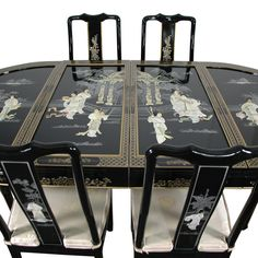 a remarkable work of east asian craftsmanship this is ming lacquer ware furniture at its best the classic oval dining table has two removable leaves asian dining room sets 1