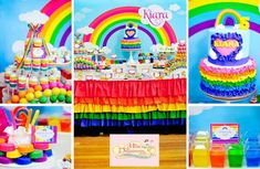Girly Rainbow Birthday Party Planning Ideas Supplies Idea Cake Decor