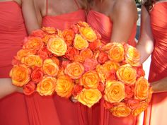 A colorful bouquet of coral, orange and bicolor yellow and red roses. Rose Petals Wedding, Floral Wedding, Fall Wedding, Wedding Flowers, Wedding Stuff, Wedding Ideas, Coral Roses, Orange Roses, Red Roses