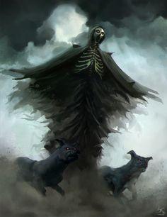underground fantasy for your pleasure Anubis, Fantasy Rpg, Dark Fantasy, Grim Reaper Halloween, Don't Fear The Reaper, Horror, Evil Demons, Beast Creature, Bizarre Art