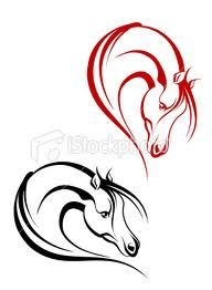 Horse tattoos - flip to make a heart out of horse heads- love