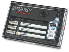 Koh-I-Noor Rapidograph Pens    Description Photos    For laying down dense, even-flowing lines of controlled widths. Any type and color of ink can be used in refillable ink reservoir. Tubular nib handles like a pencil, moves in any direction, on virtually any drawing surface.