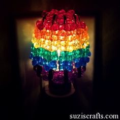 Tri-Bead Rainbow Night Light - Made from plastic beads and safety pins! Would also be pretty in one color to match bathroom decor, or hallway paint.