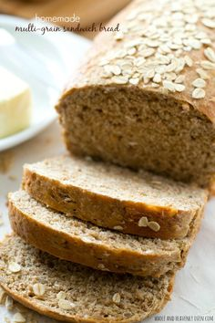 This hearty sandwich bread is chock-full of all kinds of nutritious grains---it's soft texture and homemade flavor is 10x better than the bakery! @WholeHeavenly
