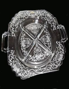 Etched Glass Relish Plate...FREE SHIPPING