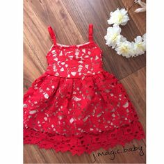 Baby Girls Flower Red Lace Bodice Dress Birthday Party Gift Xmas Christmas #Unbranded
