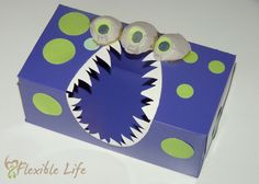 DIY Valentine's Day Card Box made from a tissue box and egg cartons.