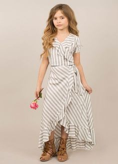 Take a look at this Gray & White Stripe Zahara Ruffle Crop Top & Skirt - Girls today! Cute Girl Outfits, Little Girl Dresses, Outfits For Teens, Girls Dresses, Fall Outfits, Girls Fashion Clothes, Little Girl Fashion, Fashion Outfits, Teen Clothing