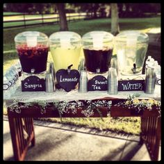Weddings & Events by Magen Wedding Decor Rustic Wedding Burnett Barn Barn Wedding Florida Barn Wedding Yellow Wedding Vintage Wedding Beverage Table Lemons Wedding Signage Drink Bar, Drink Stand, Wedding Signage, Wedding Ceremony, Outdoor Ceremony, Dream Wedding, Wedding Yellow, Spring Wedding, Wedding 2017