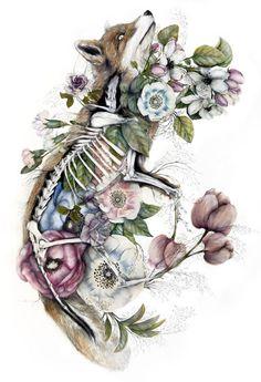 Pele e carcaça de rapoza com flores variadas - Mimesis é o nome da série apaixonante de ilustrações criadas pelo italiano Nunzio Paci