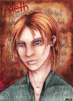ACEO 'Adeth' Part-Print (1of1) fantasy cartoon character poet anime miniature #ebay #aceo #fantasy #portrait