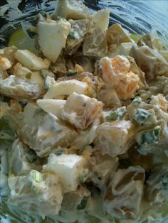Slimming world potatoe salad - Baby potatoes, chopped and boiled, chopped spring onions, chopped chives, seasoning, 2 tbsp fat free fromage frais, 1 tbsp light mayo, 2 hard boiled eggs .........1.5 syns for the lot (mayo) tastes really nice ;)