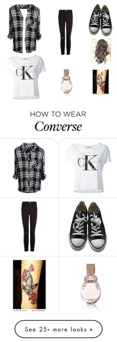 """""""Black jeans white t black converse"""" by vmathur on Polyvore featuring Calvin Klein Jeans, J Brand, Converse and GUESS"""