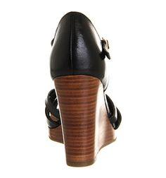 Office Derby Wedge Black Leather - Mid Heels