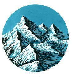linocut by Joanna Lisowiec: round art, mountains, rugged blue artwork Art And Illustration, Gravure Illustration, Mountain Illustration, Illustrations Posters, Kunst Inspo, Art Inspo, Linocut Prints, Art Prints, Block Prints