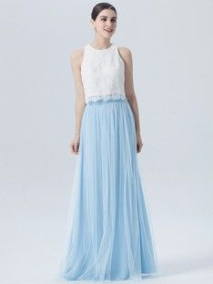 Lace Tulle 2 Piece Dress; Color: Snow White; Fabric: Tulle; Fabric: Chiffon; Fabric: Lace