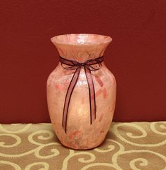 Handmade Pink Paper with Petals Glass Vase by KjgBoutique on Etsy