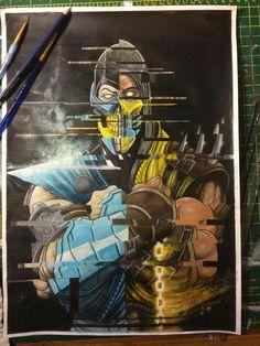 Mortal Kombat painting #Scorpion #Sub-Zero @greggmasonart  #GreggMasonArt