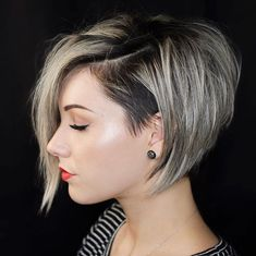 50 Best Inverted Bob Haircuts: Short & Long Inverted Bob Hairstyles - Short Inverted Bob with Bangs and Layers – Cute Inverted Bob Haircuts: Sexy Short & Long Inverted Bob Hairstyles - Inverted Bob Hairstyles, Cute Hairstyles For Short Hair, Girl Short Hair, Diy Hairstyles, Short Hair Cuts, Curly Hair Styles, Pixie Cuts, Short Pixie, Edgy Pixie