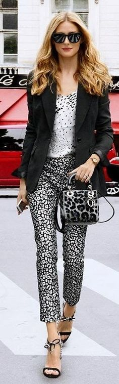 Olivia Palermo - graphic on graphic chic. Olivia has done a brilliant job pairing these black and white patterns without overwhelming her palette.