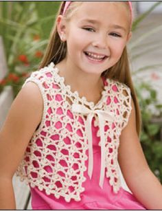 Ivory Lace Vest for little girl -published in Crochet! magazine. by Mary Jane Hall