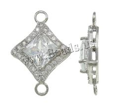 Brass Jewelry Connector, Rhombus, platinum color plated, with cubic zirconia & 1/1 loop, nickel***1,60
