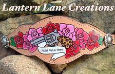 "custom painted bronc noseband ""Pistol Packin' Mama"""
