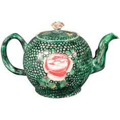 An English Shagreen Green Saltglazed Stoneware Teapot & Cover | From a unique collection of antique and modern tea sets at https://www.1stdibs.com/furniture/dining-entertaining/tea-sets/
