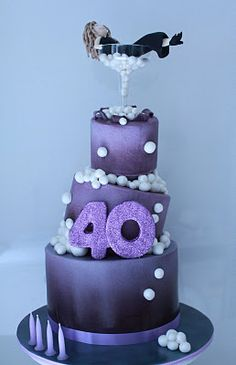 Blissfully Sweet: A Wonky Bubbly Cocktail themed 40th Birthday Cake