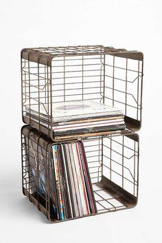Wire Storage Basket – Urban Outfitters - Home Professional Decoration Wire Basket Storage, Wire Storage, Lp Storage, Crate Storage, Wire Baskets, Storage Ideas, Storage Organizers, Book Storage, Hanging Baskets
